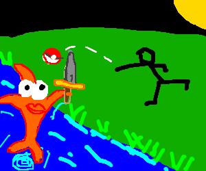 Man throws pokeball at unexpected fish