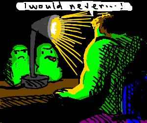 Hulk interrogated by green blobs; claims honesty
