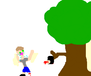 A tree holding a chopped off foot as a man cries