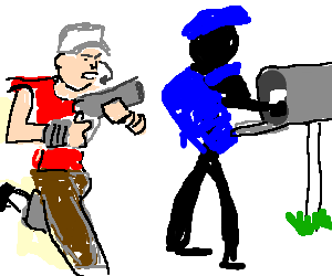postman about to be attacked by a scout
