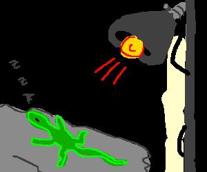 Lizard sunbathing under heat lamp - drawing by Turtlebutter