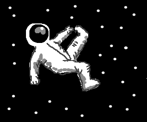 Spaceman is pointing at a pinky toe in space