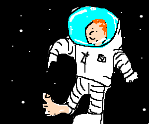 Spaceman in White Spacesuit Pointing to His Feet