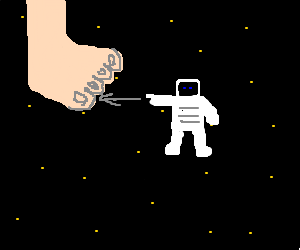 Astronaut in space points at toe. :/