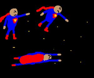 Superman's clones fighting in space.