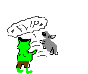 A goblin flipping off a gray tailless animal