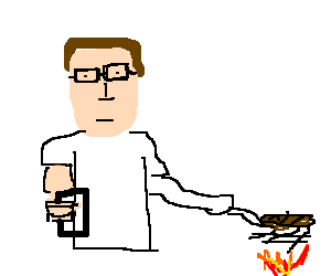 Hank Hill grills a steak.