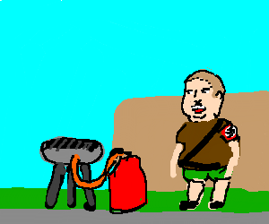 "Bobby ""Hitler"" Hill having bbq with propane gril"