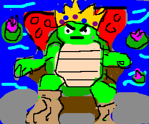 Turtle King with paper bags on his feet