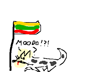lithuanian dog confused to be a cow