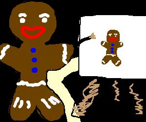 Gingerbreadman paints self-portrait