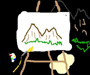 painting a mountain panorama