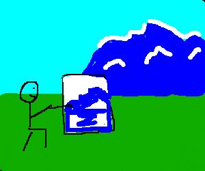 man drawing a mountain