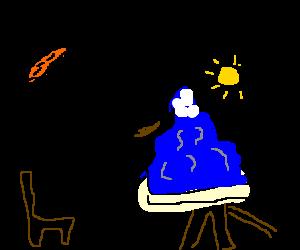 guy paints a blue mountain