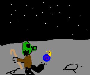 Gas mask moon man with cane kicks alien snails.