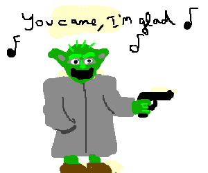 Yoda sings karaoke with a gun