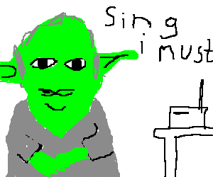 Yoda sings on the radio