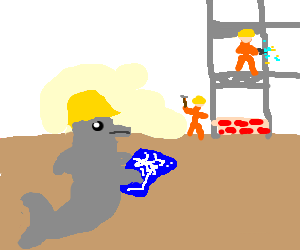 Dolphin foreman observes construction site