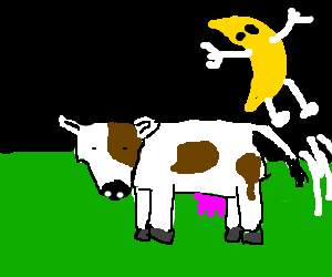 The moon jumping over a cow.