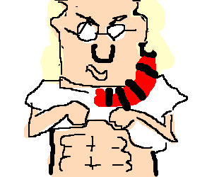 Dilbert showing off his six pack and pecs.