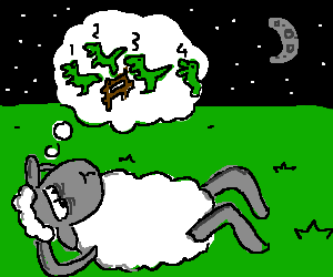 Sheep attempts to sleep by counting dinosaurs.