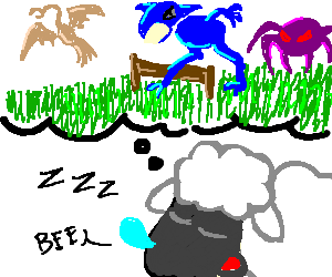 Sheep counting monsters