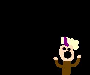 man enters monorail, purple mohawk man dismayed