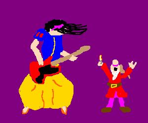 SnowWhite plays metal ballad to dwarf w/lighter