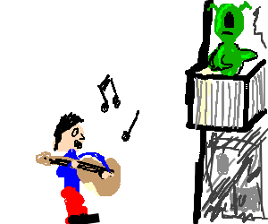Man serenades a cycloptic green alien