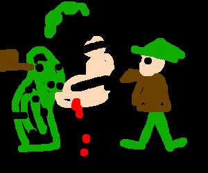 Robin Hood stabs Cactus Popeye