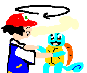Ash and Squirtle hold hands and spin in a circle