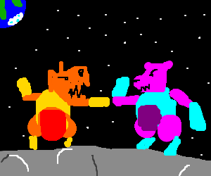 Mecha-bears battle on the moon