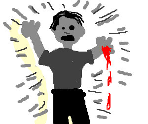 grey man with bleeding hand shines grey