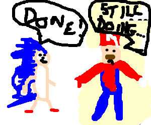 Sonic finishes earlier than Mario