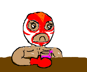 Mexican wrestler wrestling with mistakes.