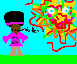 black hippy with afro whistles under trippy sun
