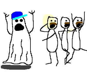 Ghost with blue cap scares three men