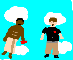 Old spice and DQ guy meet, and get really high.