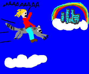 Man on flying raccoon yells to rainbow town