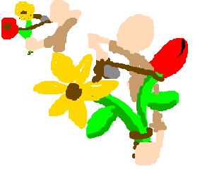 Flowers are made into slingshots