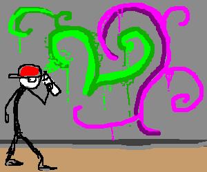 stickman graffitis a wall.