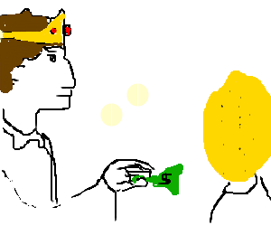 Prince attempts to give a $ to lemon-headed boy