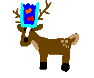 a deer with aquarium on his head