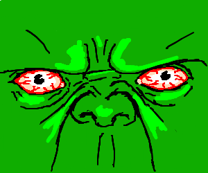 EXTREME CLOSE UP ON HULKS BLOODSHOOT EYES