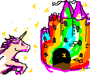 Unicorn Gallops Towards Rainbow Castle