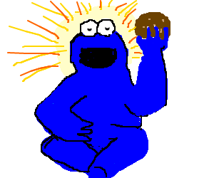 Cookie Monster achieves total zen enlightenment