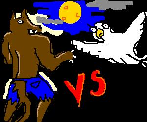 Confused werewolf vs Magic bird
