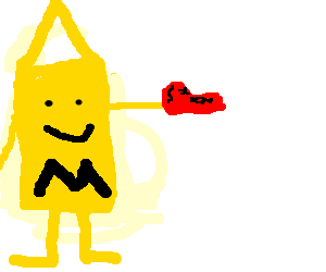 Mustard man holds a red shoe