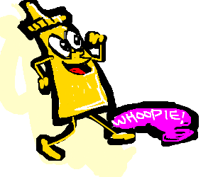 Mustard happily passes a whoopie cushion