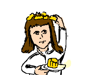 Girl with custard in her hair